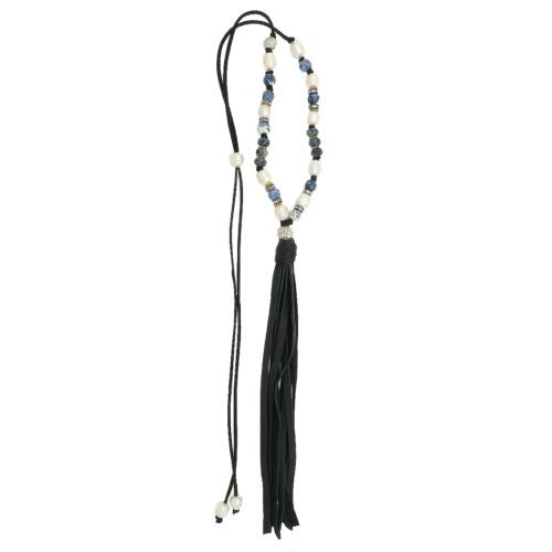 Gigi & Sugar Pearl Deerskin Pearl Mixed Bead Pave Ball Necklace Lariat Ella Blac - ILoveThatGift