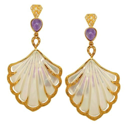 Cristina Sabatini Earrings MOP Shell Fan Earrings in 14K Gold and Amethyst - ILoveThatGift