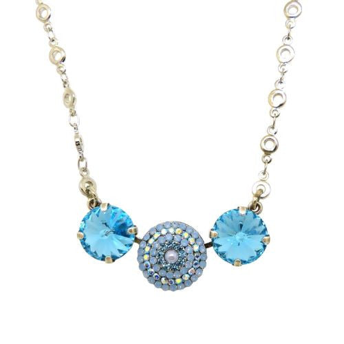Mariana Handmade Swarovski Triple Gem Necklace 5193 1343 Blue Opal - ILoveThatGift