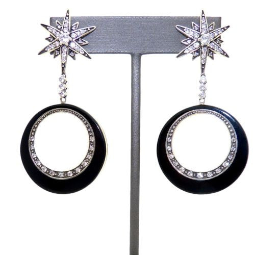 Cristina Sabatini Orbital Star Silver Plated Earrings Black Onyx - ILoveThatGift
