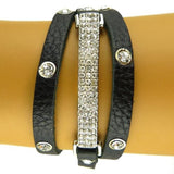 Wrap Crystal Stud Leather Rhinestone Pave Bar Bracelet Black or Brown by Funky J - ILoveThatGift