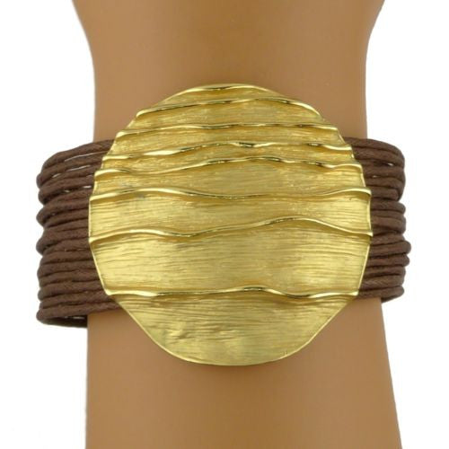 Nanni Round 18K Gold Plated Medallion Bracelet on Brown Cord Sun Collection - ILoveThatGift