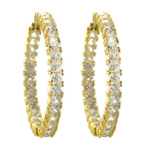 "Round Hoop Earrings Gold Inside Out 1.5"" Diameter made from Swarovski Crystal - ILoveThatGift"