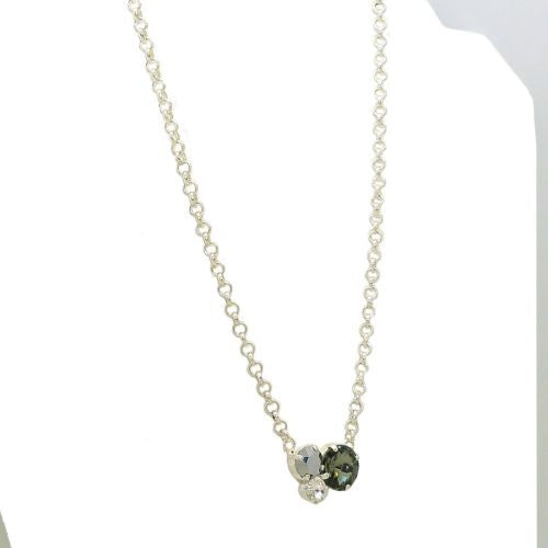 Handmade Silver Swarovski Triple Stone Gem Necklace - ILoveThatGift
