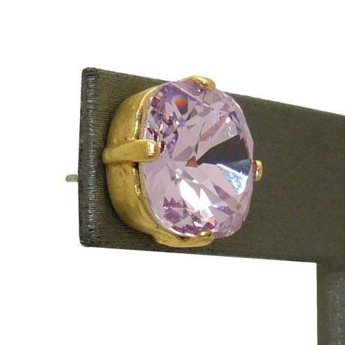La Vie Parisienne Popesco Swarovski Gold Stud Earrings Violet Purple LIMITED EDI - ILoveThatGift