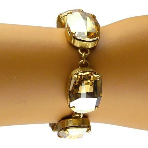 La Vie Parisienne Gold Plate Rounded Rectangle Crystal Bracelet 1674G Champagne - ILoveThatGift