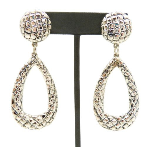 Simon Sebbag Sterling Silver Large Crocodile Pierced Button Top Teardrop Earring - ILoveThatGift
