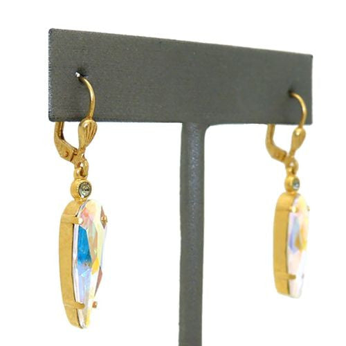 La Vie Parisienne Earrings Swarovski Crystal AB Gold Element Inverted Teardrop - ILoveThatGift