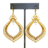 La Vie Parisienne Gold Crystal Large Openwork Earrings 9312G Black Diamond - ILoveThatGift