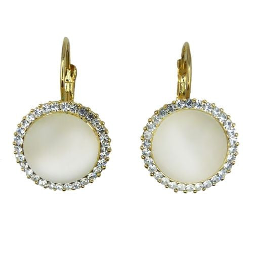 Nanni 18 K Gold Plated Round Moonstone Dangle Earring with Cubic Zirconia Border - ILoveThatGift