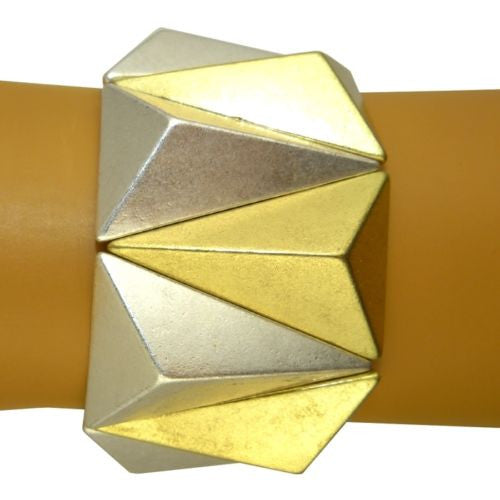 Pyramid Stretch Bracelet Gold Silver by Funky Junque - ILoveThatGift