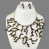 Black Enamel Coral Branch Bib Necklace & Earring Set - ILoveThatGift