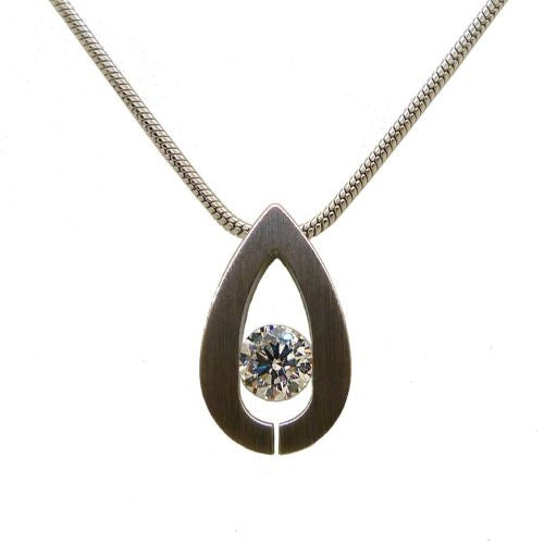 B.Tiff Drop Pendant Stainless Steel Tension Set with 1.0ct Diamond Cut Round - ILoveThatGift