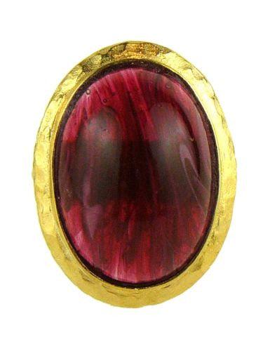 Kenneth Jay Lane Vintage Inspired 22k Gold Ring Amethyst or Ruby - ILoveThatGift