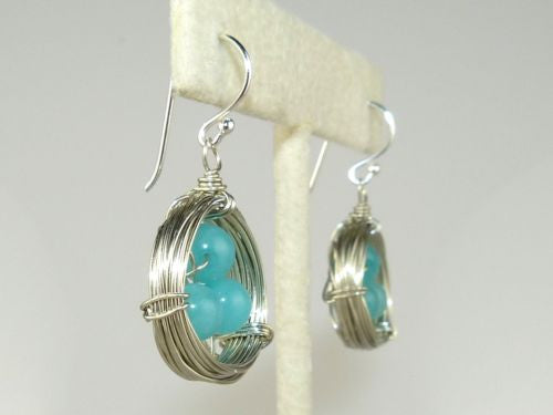 Hope Silver Wire Birds Nest Chalcedony Earrings Elly Preston - ILoveThatGift