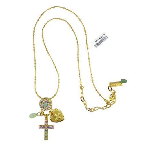 Mariana Handmade Swarovski Crosses Flower Pendant Gold Necklace Pink 52021 1028 - ILoveThatGift