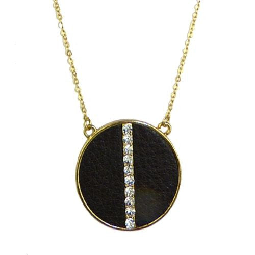 Long Leather Disc Crystal Gold Necklace by Funky Junque - ILoveThatGift