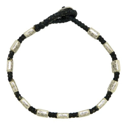 Textured Square Bead Bracelet by Marah Silver Alloy Black Cotton - ILoveThatGift