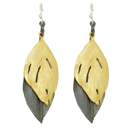 Feather Gold and Gunmetal Two Tone Wire Earrings by Michael Michaud 3134 - ILoveThatGift