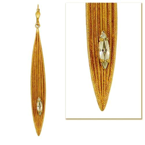 La Vie Parisienne Gold Serene Long Leaf Earrings Popesco Crystal 9390G - ILoveThatGift