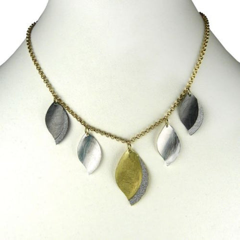 Gold tone Silver Sparkle Gunmetal 5 Petal Necklace RUSH Denis Charles - ILoveThatGift