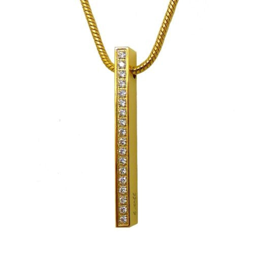 B.Tiff Gold Plated Bar Pendant Stainless Steel Tension Set with Pavé 0.02ct Diam - ILoveThatGift