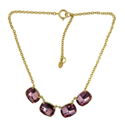 La Vie Parisienne Gold Vintage Rose Large Swarovski Necklace 1469G Catherine Popesco - ILoveThatGift