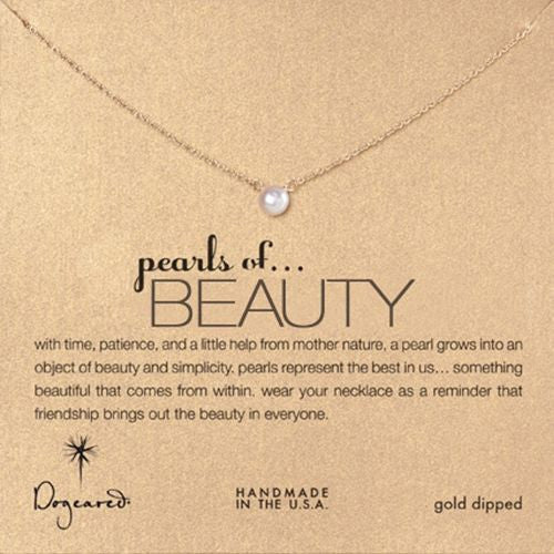 "Dogeared Pearls of Beauty Necklace 16"" Gold Gift Boxed - ILoveThatGift"