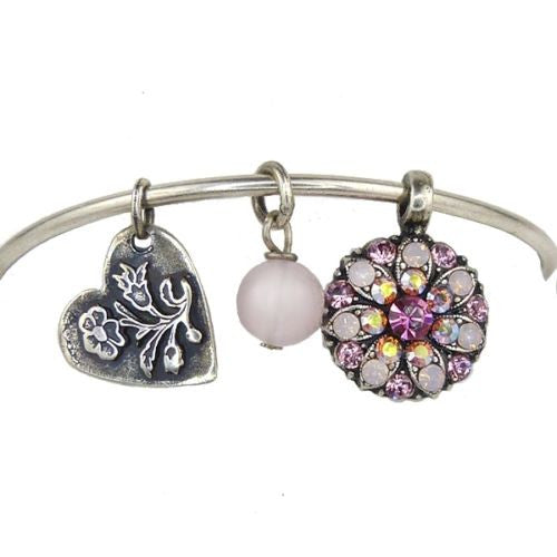 Mariana Guardian Angel Crystal Charm Bangle Bracelet 2230 Pink - ILoveThatGift