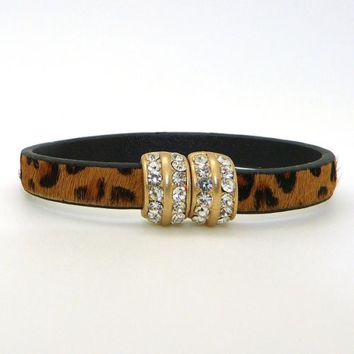 Natural Leopard Haircalf Leather & Crystal Bracelet Gold Magnetic Clasp by Acces - ILoveThatGift