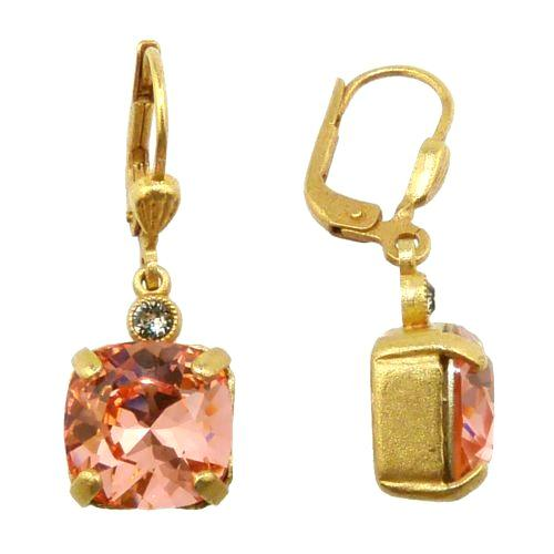 La Vie Parisienne Earrings Gold Swarovski Crystal Dangle Popesco 6581G Peach - ILoveThatGift