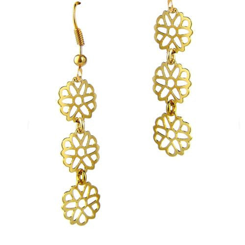 Triple Daisy Gold Plated Open Fretwork Earrings Orit Grader 824G - ILoveThatGift