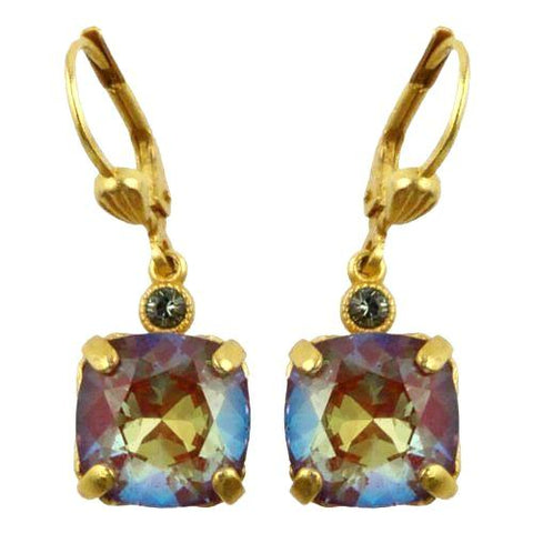 La Vie Parisienne Earrings Gold Swarovski Crystal Dangle Popesco 6581G Blue Ruby - ILoveThatGift