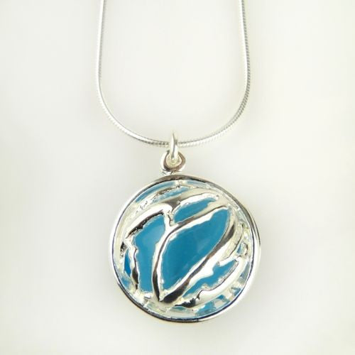 Betsy Frost Design Handmade Ster Silver 925 Large Coral Puff Pendant Blue Cat Ey - ILoveThatGift