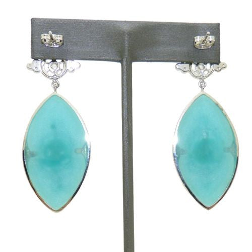 Cristina Sabatini Royal Sterling Silver Plated Earrings Aqua Blue Clear Crystal - ILoveThatGift