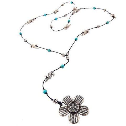 Flower Pendant Toucan Turquoise Necklace by Marah Silver Alloy Black Cotton