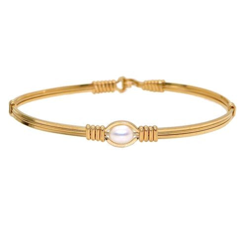 Ronaldo Pearl of My Heart 209 Bracelet 14K Gold Artist Wire White Pearl - ILoveThatGift