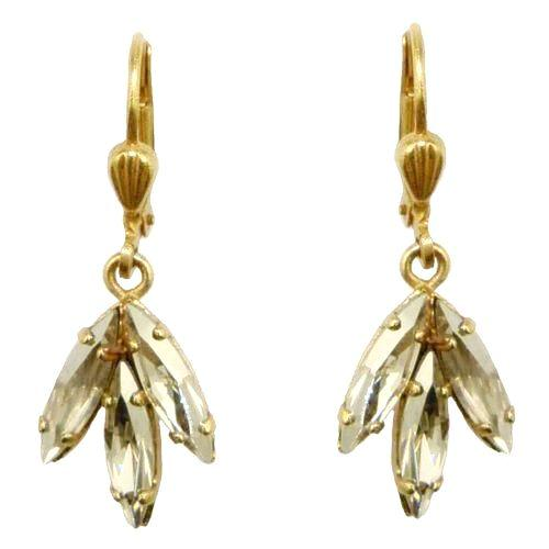 La Vie Parisienne Gold Leaf Triple Crystal Swarovski Earrings 4905G Catherine Po - ILoveThatGift