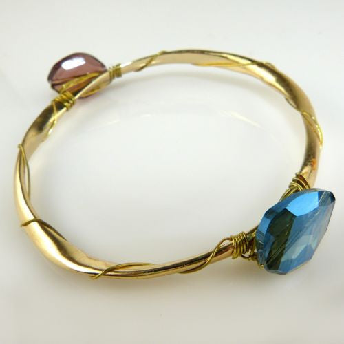 Enamel Gold Toned Hinged Bit Bangle Wear with Sequin Bracelet - ILoveThatGift