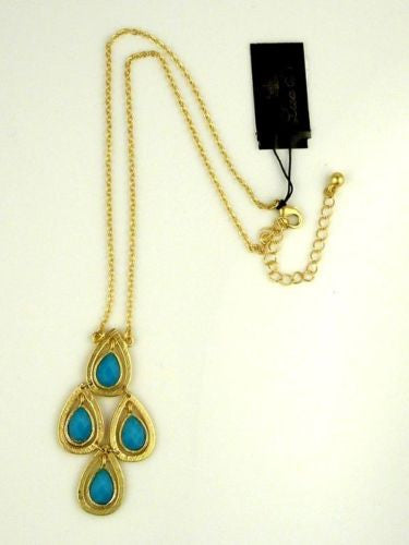 New Boho Gold Dangle Cascade Turquoise Pendant Necklace by Liza Kim - ILoveThatGift
