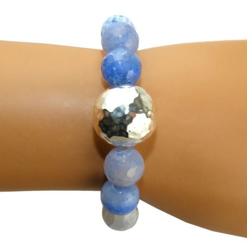 Simon Sebbag Stretch Blue Fire Agate Bracelet with Hammered Sterling Silver 925 B100LBFA - ILoveThatGift