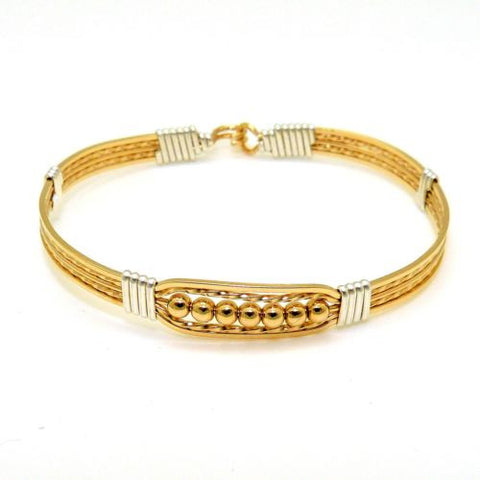 Ronaldo Power of Prayer 18W Wide Bracelet 14K Gold w Silver Wraps & 7 Gold Beads - ILoveThatGift