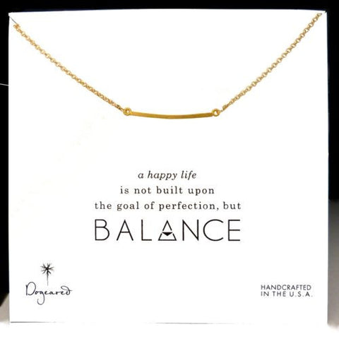 Dogeared Balance Medium Square Bar Necklace Gold Dipped 18""