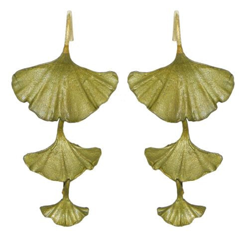 Ginkgo Leaf  Green Triple Drop Earrings by Michael Michaud Nature Silver Seasons - ILoveThatGift