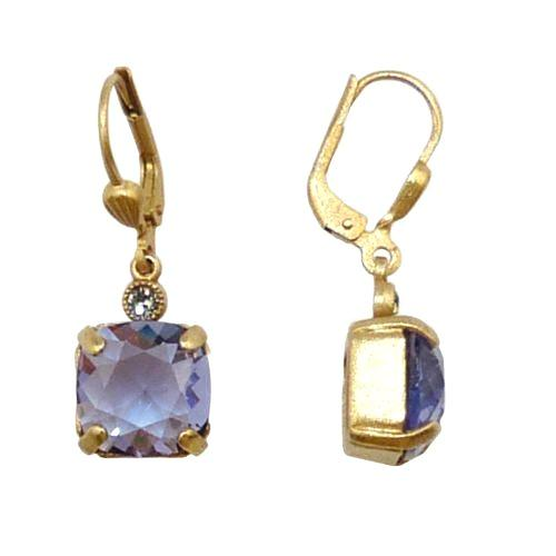 La Vie Parisienne Earrings Gold Swarovski Crystal Dangle Popesco 6581G Tanzanite - ILoveThatGift