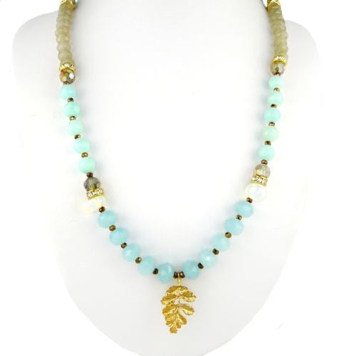 Pale Blue Gray Gold toned Bead Necklace by RUSH Denis Charles Leaf - ILoveThatGift