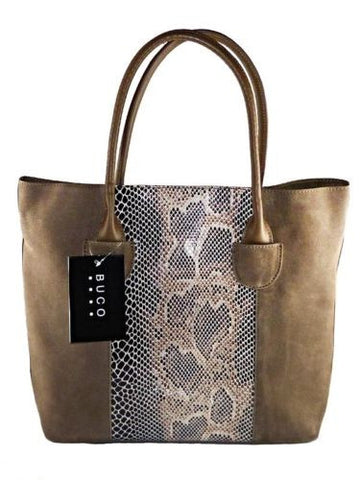 BUCO North/South Suede and Leather Tote Bag Handbag Taupe Jesselli Couture - ILoveThatGift