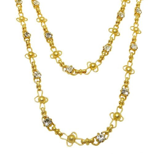 La Vie Parisienne Gold Convertible Clear Crystal Ball Chain Necklace 1531G Popes - ILoveThatGift