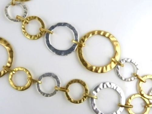 New Matte Silver & Gold Circles Necklace & Earring Set by Liza Kim - ILoveThatGift