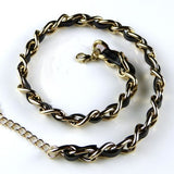Rush Gold Chain Link and Leather Double Wrap Bracelet - ILoveThatGift